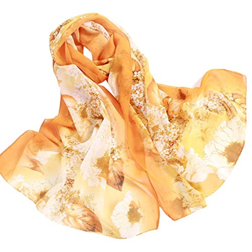 Price comparison product image Clearance! Chiffon Scarfs For Women Fashion Lightweight Soft Large Retro Shawl Wrap Floral Print Long Head Scarfs (Orange)