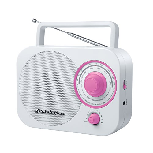 (Studebaker Pink Radio SB2000 White/Pink Retro Classic Portable AM/FM Radio with Aux Input (Limited Edition)