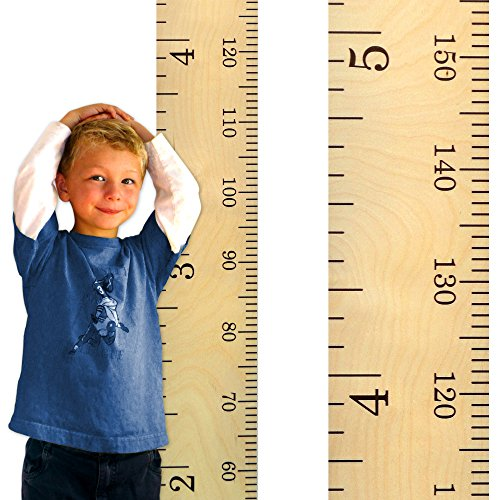 ooden Growth Chart Ruler for Boys + Girls | Growth Chart Ruler Kids Height Chart | Naked Birch Schoolhouse Ruler with Inches/Centimeters ()