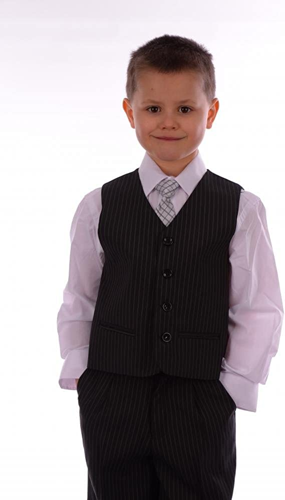 Boys Suit Formal Pageboy Wedding Suits 5 Piece Black and Grey Pinstripe with Matching Tie 1 to 13-14 Years