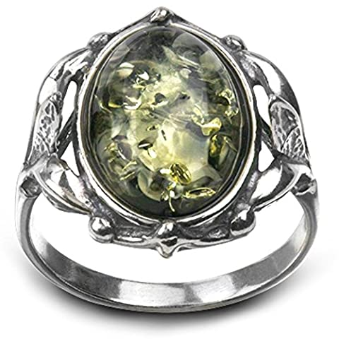 Sterling Silver Green Amber Vintage Oval Ring - Vintage Sterling Silver Gemstone Ring