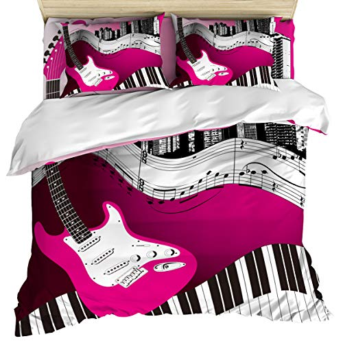 wanxinfu Bedding Set Includes 1 Bed Sheet 1 Duvet Cover 2 Pillow Cases Queen Size Musical Theme Guitar Notes Piano Keys 4 Pcs Duvet Cover Set Quilt Cover Suitable for Adults -
