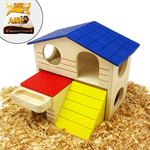 Alfie Pet by Petoga Couture - GARI Wood Hut for Small Animals like Dwarf Hamster and Mouse - Size: Large (Hamster Wood Hut)