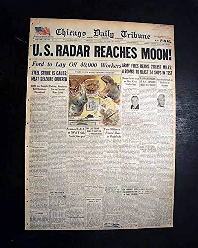 (1ST EVER MOON CONTACT Celestial Body U.S. Army Radar Belmar NJ 1946 Newspaper CHICAGO DAILY TRIBUNE, January 25,)
