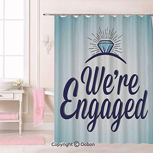 Oobon We are Engaged Announcement Quote Wedding Ring, Fabric Bathroom Decor Set with Hooks, 84 Inches Extra Long
