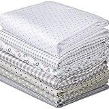 Cotton Fabric Flower Dot Strip DIY Cotton Quilting Bundle Fabric for Patchwork Crafts 7 Designs 40x50cm Color Gray