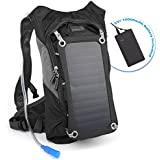 Ivation 7 W Solar Charging Panel, 1.8L Hydration Backpack/Bladder Bag w/Flexible Drinking Pipe, 10,000 mAh Waterproof Power bank - Removable Sun powered 7W/6V Solar Panel Recharges the Emergency Portable Backup Battery while Biking, Hiking, Camping, or any Outdoor Sports - Features Dual Smart Phone/Tablet Charging Ports & Pockets