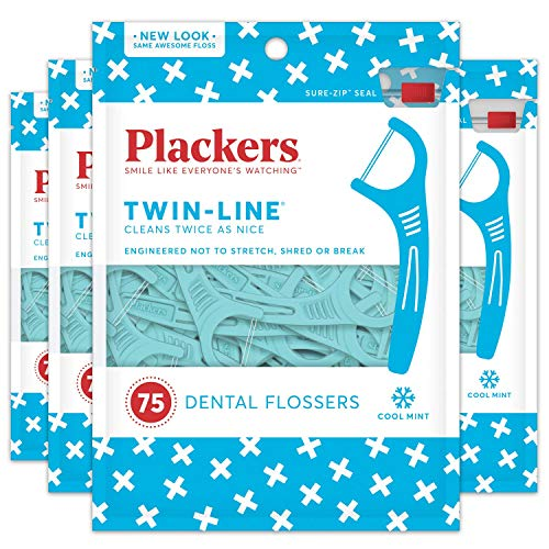 Triple Line - Plackers Twin-Line Dental Floss Picks, 75 Count (Pack of 4)