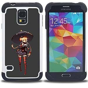 BullDog Case - FOR/Samsung Galaxy S5 I9600 G9009 G9008V / - / GIRL STOCKINGS UMBRELLA RED GREY ANIME /- H??brido Heavy Duty caja del tel??fono protector din??mico - silicona suave