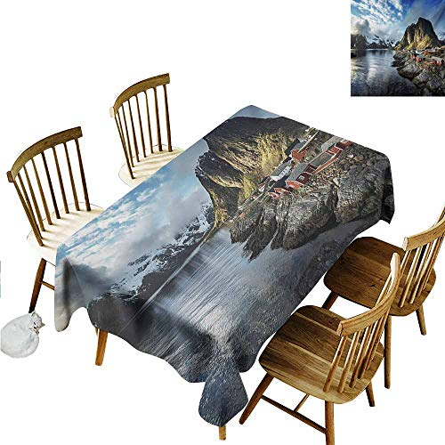 Xlcsomf Multi-Functional Long Tablecloth Island Wrinkle-Free Round Tablecloth Fishing Hut Photo in Autumn with Rocks and Clouds Scenery Northern Norway Cold Blue Grey White,W60 xL84
