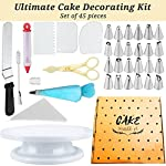 Cake Decorating Supplies 36 Pieces Cake Supplies with Revolving Plastic Turntable, 24 Stainless Steel Decorating Tips, 3 Plastic Scrapers, Icing Spatular, Pastry Bag 29 EVERYTHING NEEDED TO DECORATE CAKE - Cake turntable stand, 24 Stainless Steel icing Tip set, 1 Cake Decorating Turntable 11 inch , 1 Icing Spatula With Sided 11 inch, 1 Reusable Silicone Pastry Bags, 1 Cake Tip Brush,1 Cake Flower Lifter,1 Cake Pen, 3 Cake Scrapers, 1Piping Tip Coupler, 20 Disposable Pastry Bag. A MUST HAVE STAND FOR BAKING LOVERS - Make beautiful cakes with the Growses cake decorating supplies package. The rotating Cake decorating stand help you to easily decorate round cakes and other desserts for birthdays, parties, weddings and other events. The Round Turntable is robust, made from non sticky plastic, non-toxic, dishwasher safe, ideal for beginners as well as for professionals. MORE ICING BAGS FOR USING - 1 pastry bag and 1 disposable pastry bags, perfect for decorating with milti-color cream, Plastic Couplers can be easier to change piping tips.