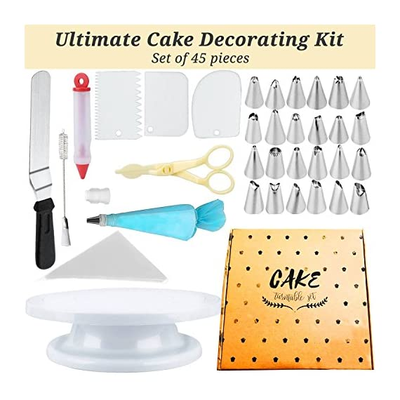 Cake Decorating Supplies 36 Pieces Cake Supplies with Revolving Plastic Turntable, 24 Stainless Steel Decorating Tips, 3 Plastic Scrapers, Icing Spatular, Pastry Bag 11 EVERYTHING NEEDED TO DECORATE CAKE - Cake turntable stand, 24 Stainless Steel icing Tip set, 1 Cake Decorating Turntable 11 inch , 1 Icing Spatula With Sided 11 inch, 1 Reusable Silicone Pastry Bags, 1 Cake Tip Brush,1 Cake Flower Lifter,1 Cake Pen, 3 Cake Scrapers, 1Piping Tip Coupler, 20 Disposable Pastry Bag. A MUST HAVE STAND FOR BAKING LOVERS - Make beautiful cakes with the Growses cake decorating supplies package. The rotating Cake decorating stand help you to easily decorate round cakes and other desserts for birthdays, parties, weddings and other events. The Round Turntable is robust, made from non sticky plastic, non-toxic, dishwasher safe, ideal for beginners as well as for professionals. MORE ICING BAGS FOR USING - 1 pastry bag and 1 disposable pastry bags, perfect for decorating with milti-color cream, Plastic Couplers can be easier to change piping tips.