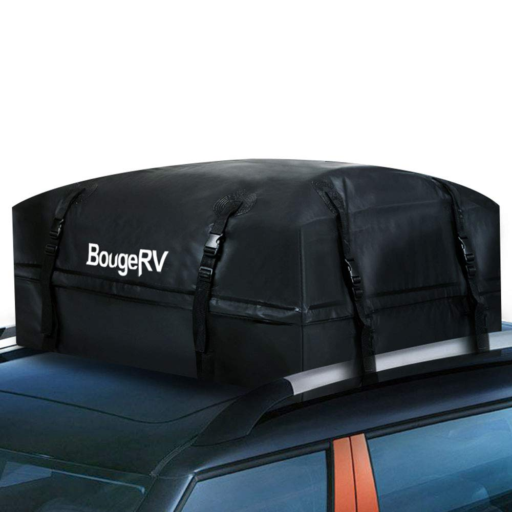 BougeRV Roof Top Cargo Carrier Bag Waterproof Car Roof Bag Rooftop Cargo Luggage Bag Travel Storage Box for Jeep Car Truck SUV (15 Cubic Feet)