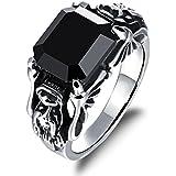 Fashion mens 11mm stainless steel dragon head ring retro black CZ birthday band#by pimchanok shop (9)