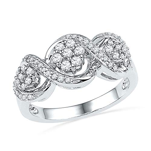 - 10kt White Gold Womens Round Diamond Triple Flower Cluster Ring 1/3 Cttw