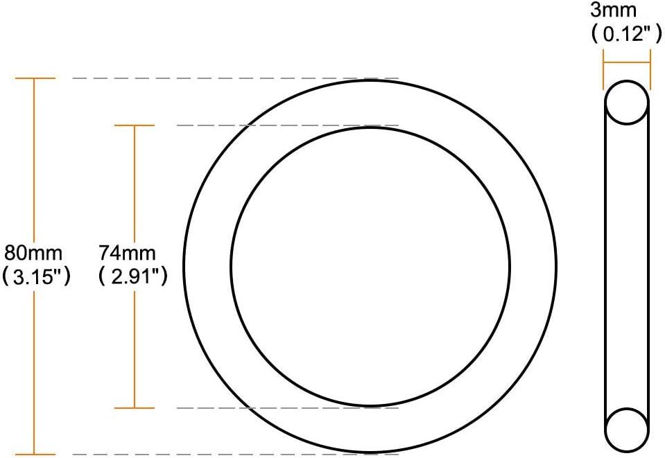 80 mm x 3 mm de goma de arandelas de sellado para filtro de aceite O con arandelas 9 piezas