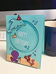 Blue Spinning Dolphin Birthday Card. 100% handmade.