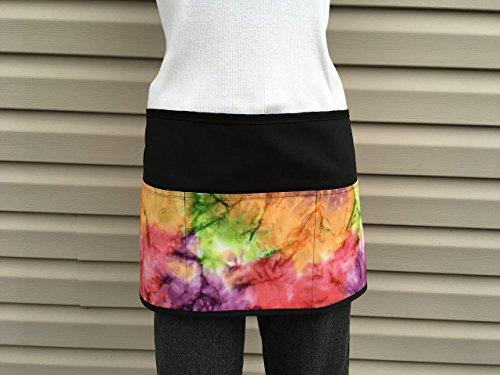 (Black Tie-Dye waist Apron Waitress or Server 3 Pocket, Half printed design for: Restaurants cooking, kitchen. 300 more @ (Handmade Janet Aprons) printed designs)