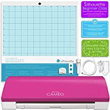 Silhouette Cameo 3 Limited PINK Edition with Bluetooth, Auto Adjusting Cutting Blades, Vinyl Trimmer, 12x12 Mat, 110v-220v Power Cord, Warranty
