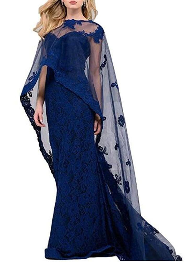 Dark bluee Yuki Isabelle Women's Elegant Lace Long Prom Evening Wedding Dress Formal Slim Mermaid Cape Dresses