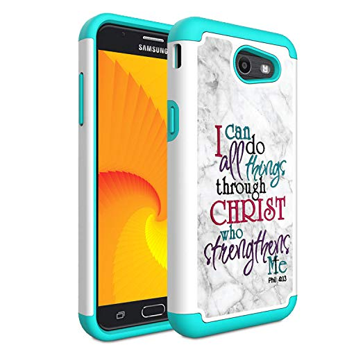 Galaxy J3 Emerge/J3 Prime/J3 2017/Sol 2/Amp Prime 2/Express Prime 2 Case,Skyfree Heavy Duty Dual Layer Bumper Protective Phone Case for Samsung Galaxy J3 2017, Quote Bible Verse Marble (Pro Vers)