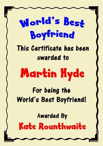 Boyfriend Best In The World Award Personalized Certificate