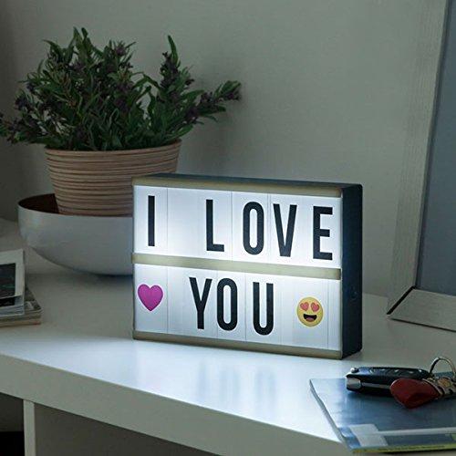 Panneau Lampe R/étro-/éclair/é /à Customiser Personnaliser Message Light Box 21 x 15 x 4 cm Inclus 60 Lettres et Symboles Format Moyen SHOP-STORY