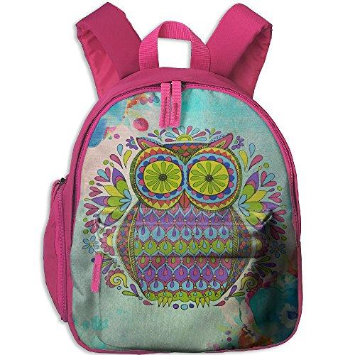 Owl Painting Kids Daypack,Cute Girls Polyester Oxford Shoulders Bag