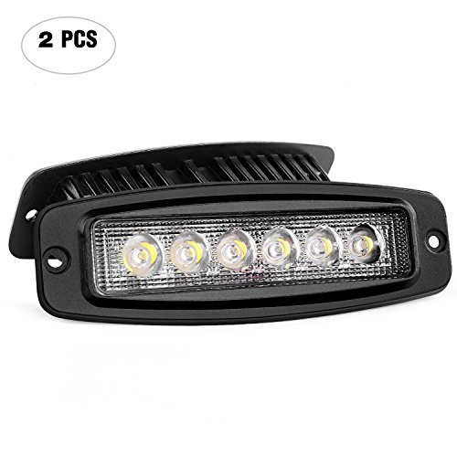 Nilight NI-28E-18W 2PCS 18W Spot Work Driving Bar Off Road Led Lights Flush Mount for Jeep, 2 Years - Land 80 Cruiser Series