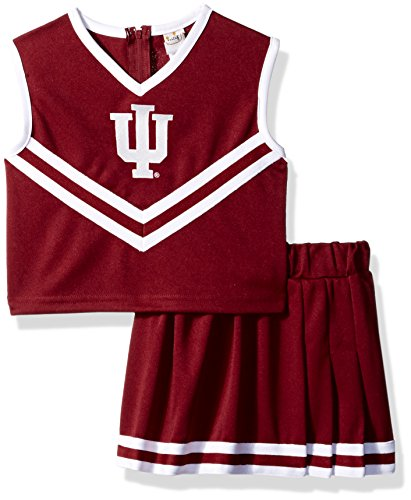 Little King NCAA Indiana Hoosiers Two Piece Cheer Dress, 3 Tall, Red - Toddler Cheerleading Outfit
