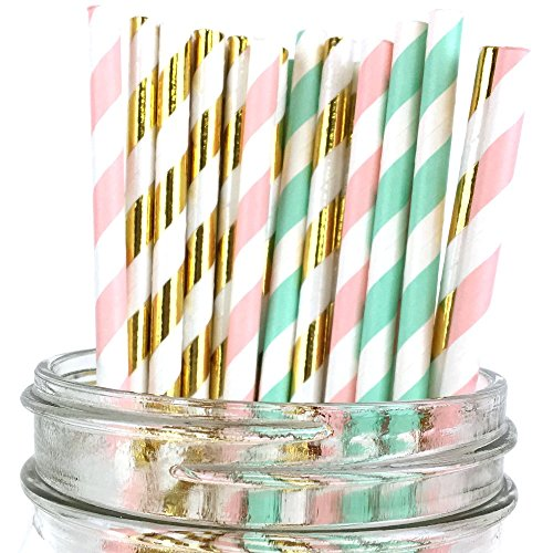 Just-Artifacts-Assorted-Decorative-Paper-Straws-100pcs-Light-PinkSeafoamMetallic-Gold-Striped-Decorative-Paper-Straws-for-Birthday-Parties-Weddings-Baby-Showers-and-Life-Celebrations