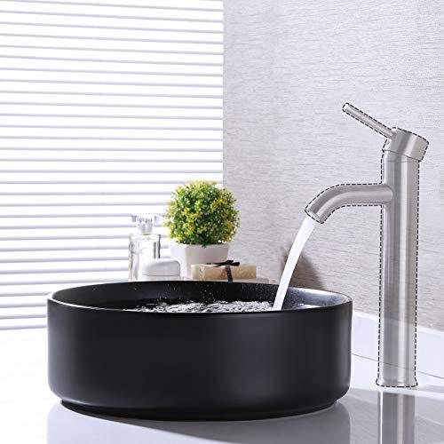 KES Bathroom Vessel Sink 16 Inch Round Above Counter Circle Matte Black Ceramic Countertop Sink for Cabinet Lavatory Vanity, BVS121-BK