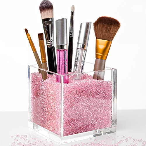 Acrylic Makeup Organizer & Makeup Brush Holders with PINK Diamonds. The #1 Gift for Girls. Best Containers with Rhinestones to Store Brushes, Eyeliners, Pencils, Lipstick & (Rhinestone Cube)