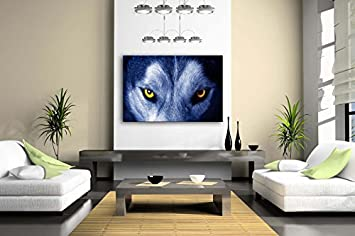 First Wall Art – Wolf Face Yellow Eye Wall Art Painting The Picture Print On Canvas Animal Pictures For Home Decor Decoration Gift