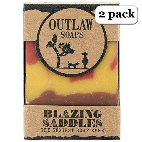 Blazing Saddles Bar Soap - The Sexiest Soap Ever - 2 Pack - Western-inspired: Smells like Leather, Gunpowder, Sandalwood, and Sagebrush - Men's or Women's Bar Soap