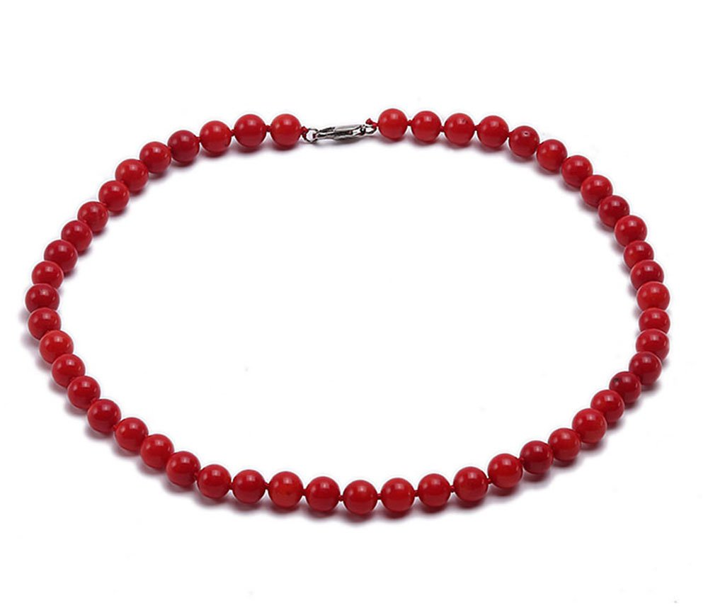 JYX Coral Necklace 10mm Red Round Coral Necklace 19''