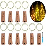 LRCXL Set of 10 Warm White Wine Bottle Cork Lights - 18inch/47cm 10 LED Silver Wire Lights String Starry LED Lights for Bottle DIY, Party, Christmas, Wedding Decoration. (Warm White)