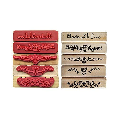 5 PCS Cute DIY Wooden Rubber Stamps Flower and Letters Diary Scrapbooking Stamps Set