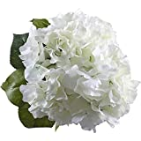 GTidea 18.9 Inch 5 Big Heads Artificial Hydrangea Silk Flower Bouquet Home Hotel Valentines Wedding Party Garden Any Occasions Floral Decor White