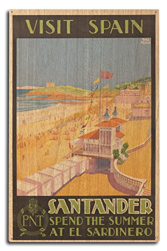 Visit Spain - Santander Vintage Poster (artist: Baldrich, Javier) c. 1930 (10x15 Wood Wall Sign, Wall Decor Ready to Hang) by Lantern Press