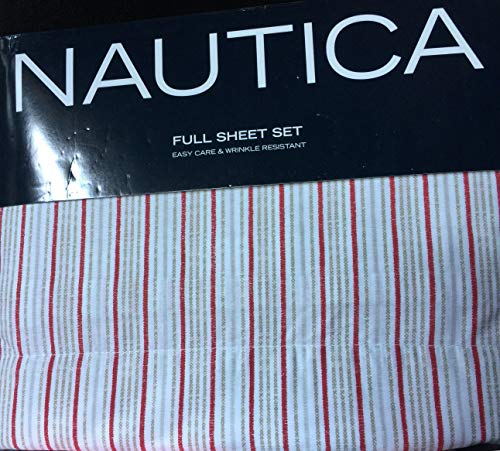 Nautica Easy Care & Wrinkle Resistant 4 Piece Full Sheet Set, Red Brown Sternport Stripe