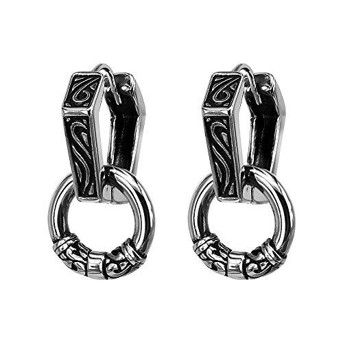 Pair Hexagon Circle Surgical Steel Earrings Unisex Vintage Gothic Punk Hoop Dangle Earrings 12mm by PiercingCool