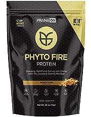 PranaON Phyto Fire Plant Protein - Energizing Plant Protein Supplement with Matcha Green Tea, Guarana, Green Coffee Bean - Vegan, Non Dairy, Gluten Free, Keto Friendly, Non GMO (Honeycomb 35 Oz)