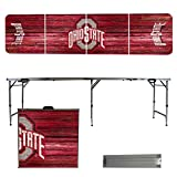 NCAA Ohio State University Buckeyes OSU Weathered Version 8 Foot Folding Tailgate Table,1234,Multicolored