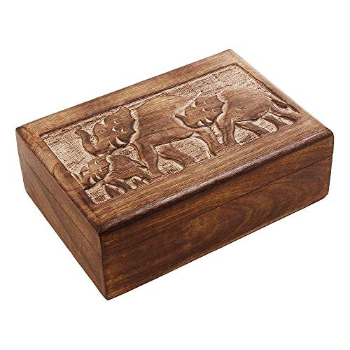 Handcrafted-India Wooden Trinket Box with Hand Carved Elephant Motif - Floral Jewelry Armoire