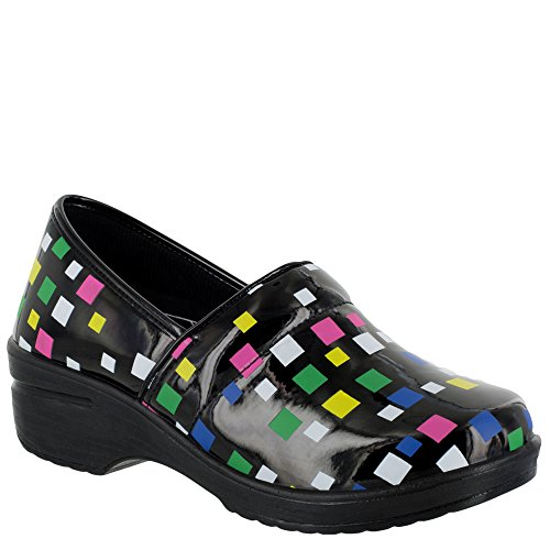 Easy Works Women's LYNDEE Health Care Professional Shoe, Black MUL sq Print, 9 M US