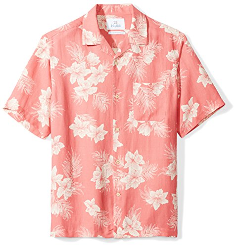 Floral Silk Camp Shirt - 28 Palms Men's Relaxed-Fit Silk/Linen Tropical Hawaiian Shirt, Washed Red Vintage Floral, Large