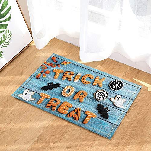 (Halloween Decoration,Quail Eggs and Ghost Bat Turquoise Wooden Bath Rug,Indoor Non-Slip Door Mat,Children's Bathroom Carpet,15.7X23.6 in,Bathroom)