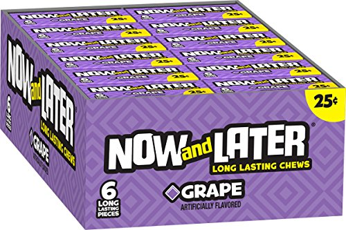 Now & Later Original Taffy Chews Candy, Grape, 6 count, 0.93 Ounce Bar, Pack of 24