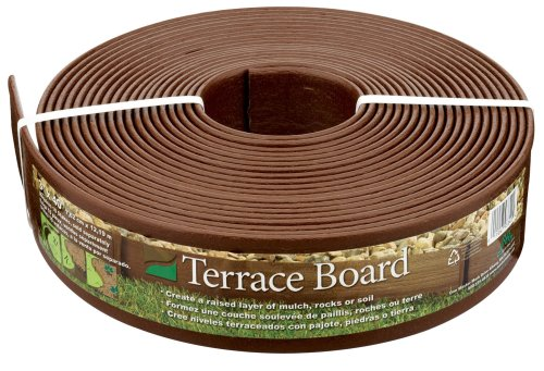 Garden Edging Borders - Master Mark Plastics 93340 Terrace Board  Landscape Edging Coil  3 Inch by 40 Foot, Brown